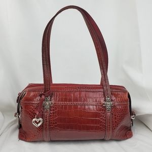 Brighton Red Crocodile Embossed Leather Bag